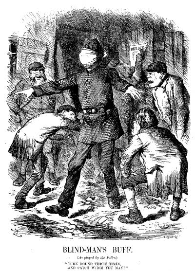 1888年9月22日,《Puck》雜誌刊登的漫畫批評警方辦事不力(Wikipedia/Public Domain)