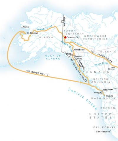 淘金客從海陸兩條道路前往育空地區。(維基百科公有領域)