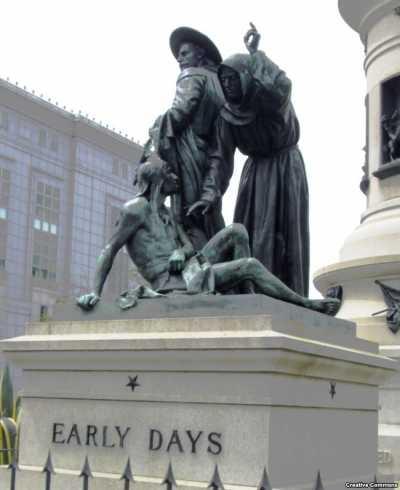 舊金山先驅紀念碑局部。(美國之音資料照)