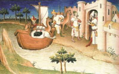 《馬可波羅遊記》插圖:抵達中國港口(Wikipedia/Public Domain)