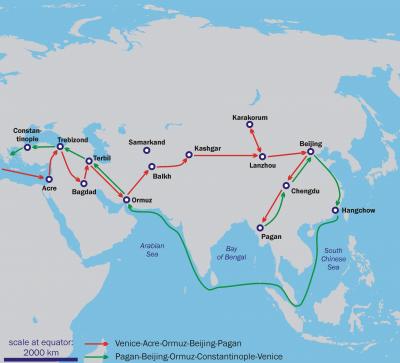 馬可波羅前往中國與返回歐洲的路線,這張地圖是根據馬可波羅的敘述所繪製(Asie.svg: historicair@Wikipedia/CC BY-SA 3.0)