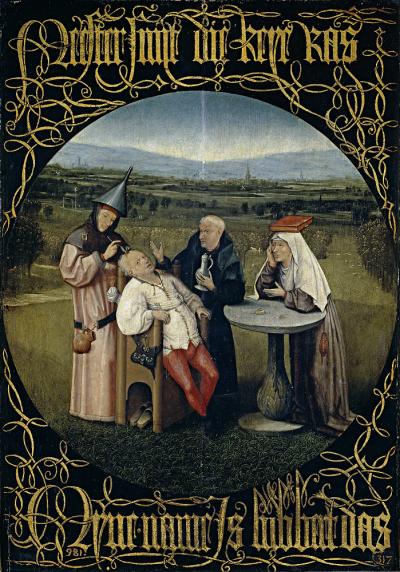 荷蘭畫家 Hieronymus Bosch 的畫作:《愚蠢療法》,描繪當時理髮師替病人進行開腦手術,諷刺當時醫學不發達的荒唐行為。(圖/《解碼臺灣史 1550-1720 》,翁佳音、黃驗提供)