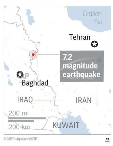伊拉克與伊朗邊境12日晚間發生規模7.3強震,死亡逾335人,超過5000人受傷。(美聯社)