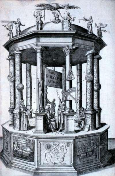 《魯道夫星曆表》在卷首的插圖標示知名的天文學家,包括托勒密、哥白尼、第谷等人(Wikipedia/Public Domain)