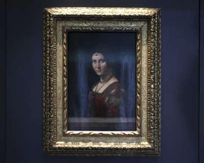 阿布達比羅浮宮,圖為文藝復興大師達文西的《美麗的費隆妮葉夫人》。(美聯社)