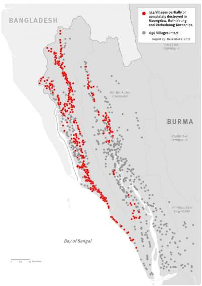 最新分佈圖顯示2017年10月到11月若開邦北部羅興亞村落被摧毀情形。© 2017 人權觀察