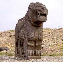 位於敘利亞、有3000年歷史的艾因達拉神廟外的大型石獅像,近日遭土耳其轟炸摧毀。(美聯社)