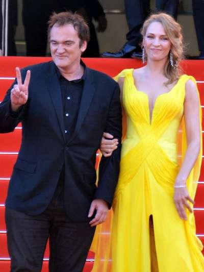 2014年坎城影展,鄔瑪舒曼與導演昆汀塔倫迪諾慶祝《黑色追緝令》20周年。(圖/Georges Biard@wikipediaCCBYSA3.0)
