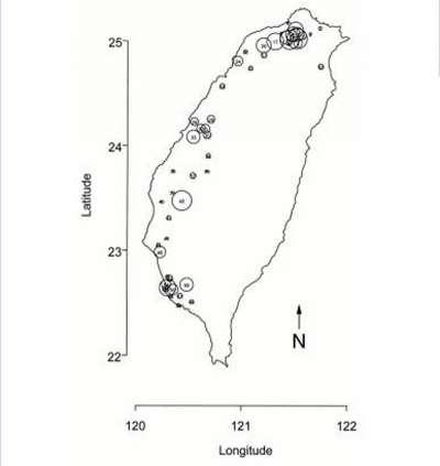 天如專題-詹長權1998研究,1998年台灣空質量監測網的監測台站數據,圓圈的大小與每個社區的風臉人口成正比。(台大公衛學院院長詹長權提供)