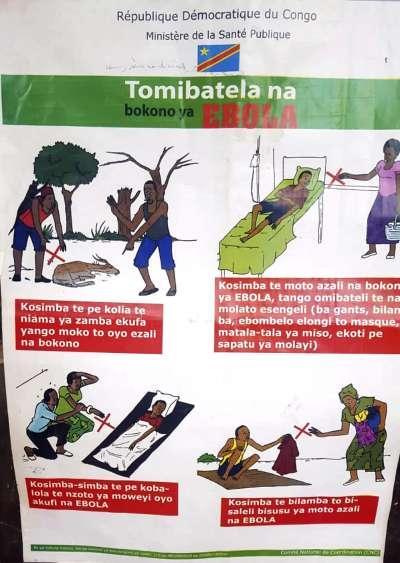 伊波拉病毒在剛果民主共和國境內爆發,首都金夏沙(Kinshasa)已貼上防疫衛教海報。(AP)