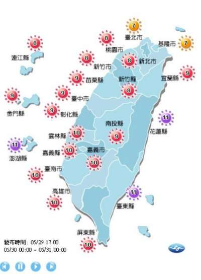 20180529-明天新北以南紫外線指數多在8級以上,花東及澎湖來到11級,戶外活動請務必做好防曬,以免中暑。(中央氣象局)