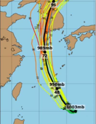 20180629-美國最新(28日20時)系集模擬顯示,其未來行徑先向西北,抵琉球附近再轉北;歐洲、加拿大及中央氣象局的模式模擬也皆有類似的結果。(取自「三立準氣象·老大洩天機」專欄)