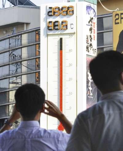 日本岐阜縣的多治見車站18日測出41.2度的高溫,不過這個數字未獲官方機構肯定,目前日本最高溫還是熊谷的41.1度。(美聯社)