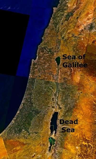 加利利海(Sea of Galilee)與死海(Dead Sea)的位置。(維基百科/公用領域)