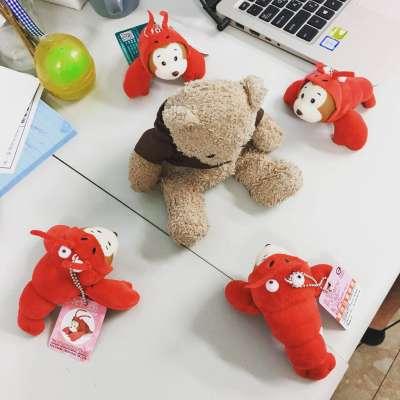 小風平常的休閒是夾娃娃,而倫倫笑說,4隻蝦猴圍著熊熊代表同志「四面楚歌」的處境(倫倫提供)