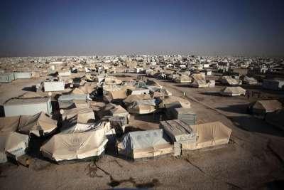 約旦北部的扎塔利難民營(美聯社)