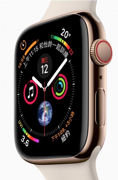 第四代Apple Watch的錶面為歷來最大。(翻攝官網)