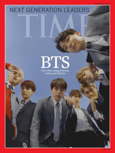 2018年10月11日,《Time》在官方 Twitter上,公開防彈少年團為新一期國際版雜誌封面的主角。(圖/Time@twitter|想想論壇提供)