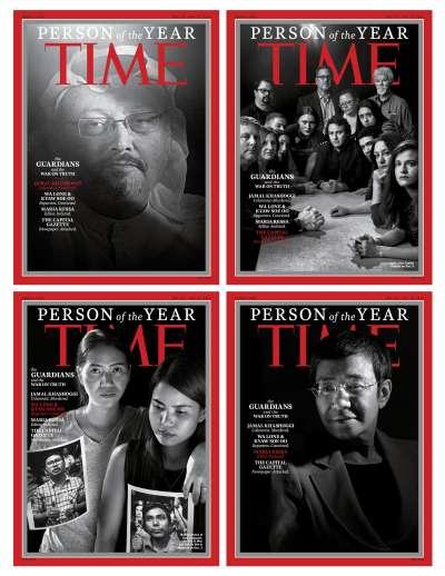 《時代》雜誌2018年度風雲人物:「守護者與真相之戰」。(AP)
