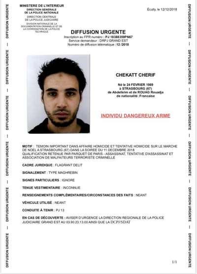 法國史特拉斯堡(Strasbourg)11日晚間發生槍擊案,嫌犯是29歲法國男子查立夫。(AP)
