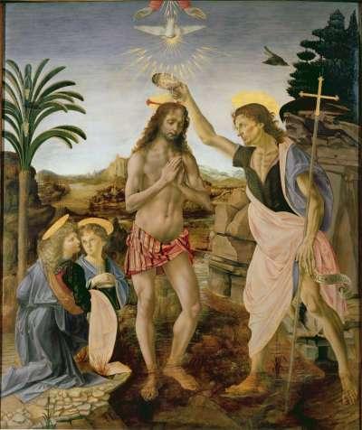 《耶穌受洗》由維羅丘與達文西共同創作,據稱背景與左手邊的天使出自達文西之手(Wikipedia/Public Domain)