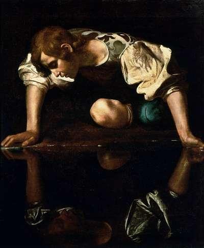 納西瑟斯在打獵完,在一個小池塘中看見自己的倒影,他從來沒有看過這麼帥的人,於是他就愛上了水中自己的倒影。(圖片取自維基百科)