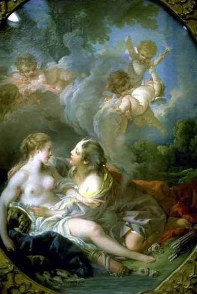 宙斯化作女兒阿緹蜜絲接近卡利斯托(圖片取自維基百科)