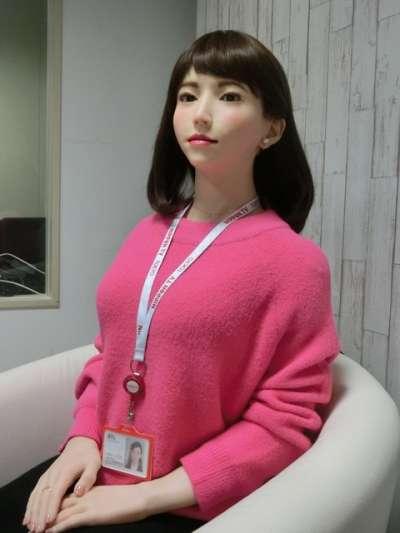 人型機器人‧AI主播「AOI ERICA」攝於1月31日(圖由潮日本提供)