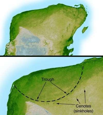 雷達的探測呈現出直徑180公里的希克蘇魯伯隕石坑邊界。(維基公有領域)