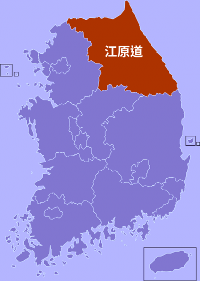 江原道行政區的位置。
