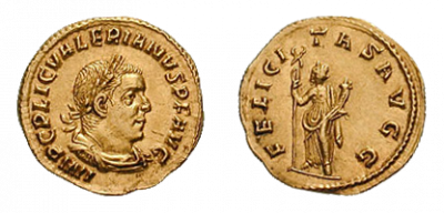 刻有瓦勒良側面像的金幣,背面為幸運女神像(維基百科@Classical Numismatic Group/CC BY-SA 3.0)