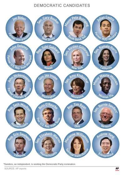 2020年美國總統選舉,民主黨多名選將投入黨內初選(AP)