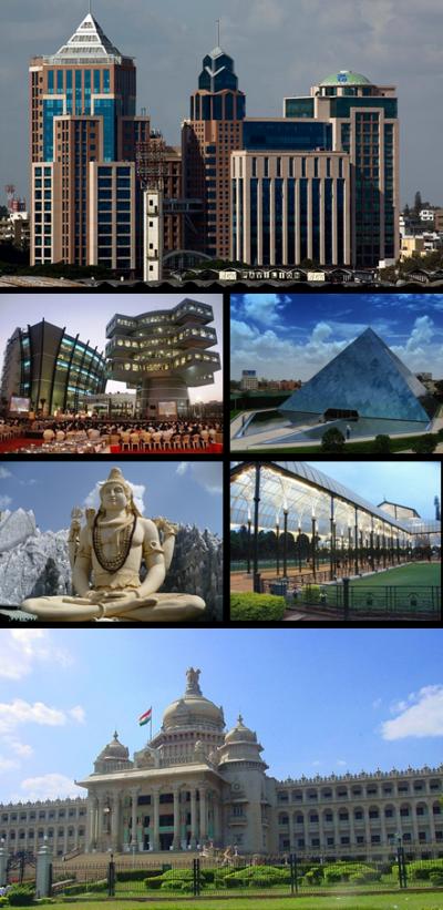 班加羅爾的都市地標,自頂部順時針為UB城、印孚瑟斯、Lal Bagh的溫室、Vidhana Soudha、濕婆像、巴克曼內科技園。(取自維基百科)