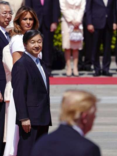 美國總統川普夫婦27日成為日本新天皇德仁即位後第一個接見的國賓。(美聯社)