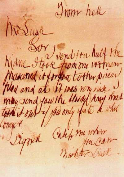 """疑似兇手寄發的第三份訊息:""""From Hell""""(圖片取自維基百科)"""