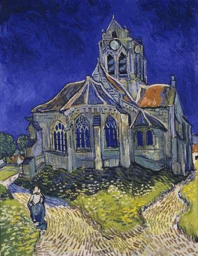 梵谷作品《奧維教堂》(The Church at Auvers),創作於1890年6月,描繪奧維鎮上的教堂(Wikipedia/Public Domain)