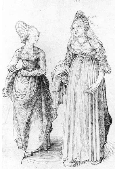 15世紀末的素描圖,左為紐倫堡婦女,右為威尼斯婦女。由於威尼斯婦女腳穿厚底鞋,故顯得較為高大。(圖/作者提供)