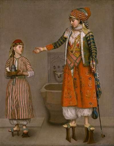 身穿nalın的鄂圖曼貴族婦女,左手拿的是煙管。(圖/作者提供)