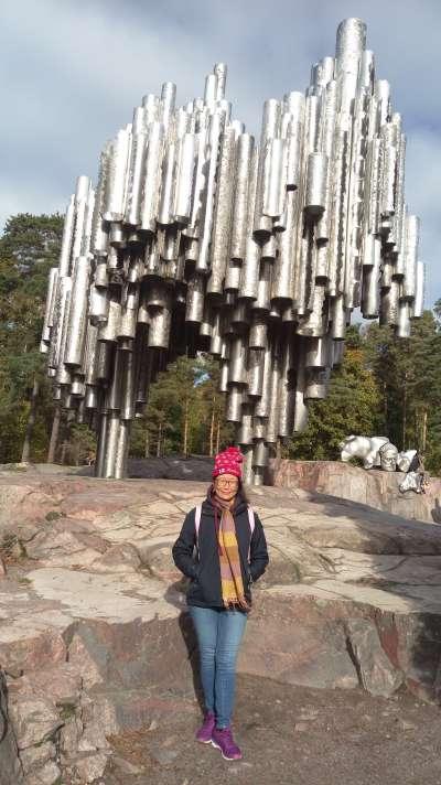 西貝流士公園內的西貝流士紀念碑(圖/作者提供)