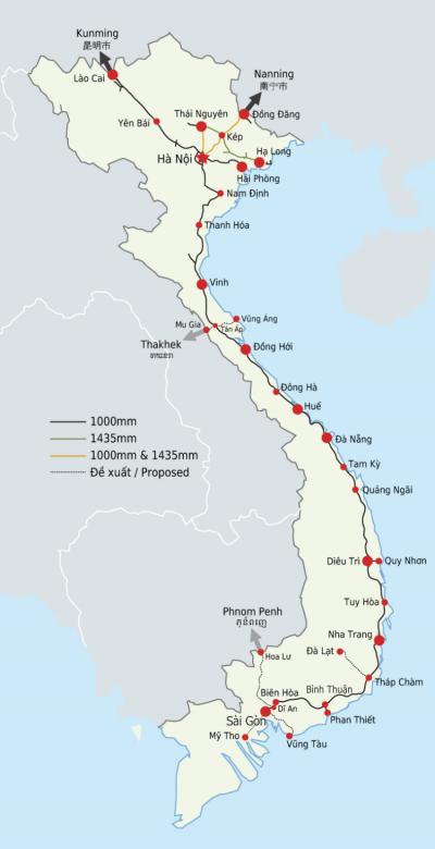 越南現行鐵路運輸地圖。(Mouagip, Dragfyre @Wikipedia / CC BY 3.0)