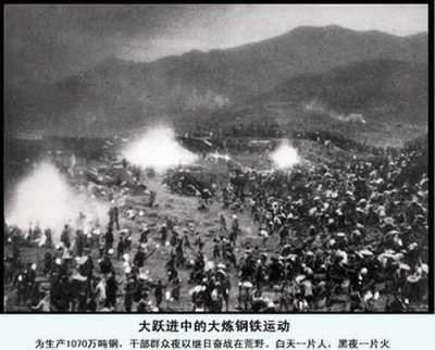 大躍進運動為1958年至1960年,中國試圖利用本土充裕勞動力和蓬勃的群眾熱情在工業和農業上不切實際地增產。圖為大躍進照片海報。(資料照,取自維基百科/公用領域)