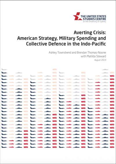 〈避開危機:印太地區的美國戰略、軍事支出與集體防衛〉報告封面。(美國研究中心官網)