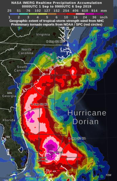 NASA製作的雨量圖表,顯示巴哈馬北部的阿巴科群島地區屬雨量高度集中地區。(取自NASA官網)