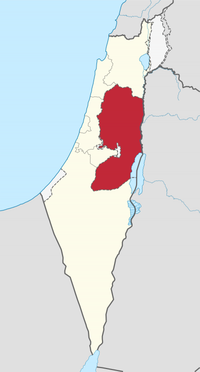 希伯來聖經中的朱迪亞-撒馬利亞區,現稱約旦河西岸。(維基百科公有領域)