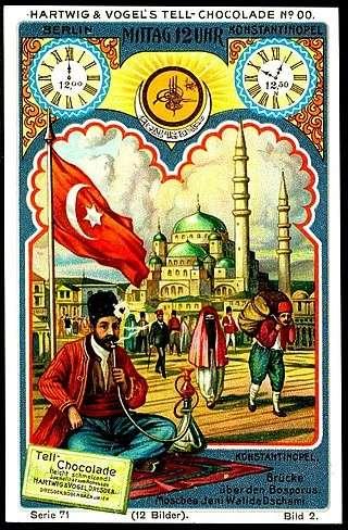 20世紀的德國巧克力盒,盒上繪有奧斯曼帝國圖景,左上即是帶有星月符號的國旗。(作者提供,取自維基百科)