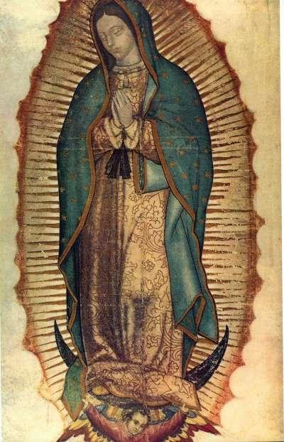 新月聖母之例-瓜達盧佩聖母(Our Lady of Guadalupe)。(作者提供,取自維基百科)