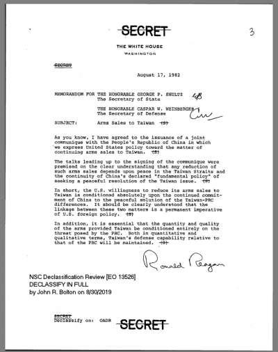 1982年8月17日,八一七公報簽署的當天,時任美國總統雷根發給當時的美國國務卿舒茲、國防部長溫伯格一份備忘錄,強調美國同意減少對台軍售的意願,是以中國持續其和平解決兩岸分歧的承諾為先決條件。(圖取自AIT網頁)