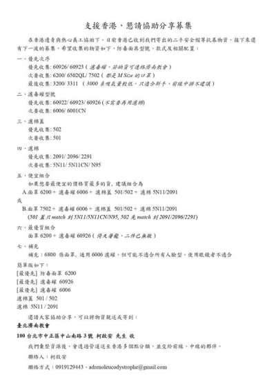 台灣青年柯啟安擔任「我在台灣撐香港.援助香港」活動發言人,募得2000副防毒面具送往香港。圖為活動公告。(取自活動專頁)