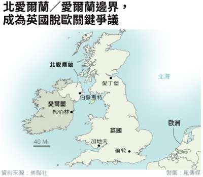 英國脫歐爭議焦點──愛爾蘭邊界(美聯社.風傳媒製圖)
