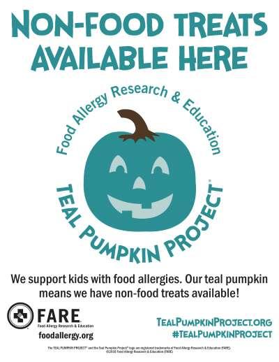 「食物過敏研究及教育」提出藍綠色南瓜計畫, 希望大家能為對食物過敏的孩子準備不同的小禮物。(AP)